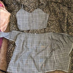 Gray and white two piece skirt set for women